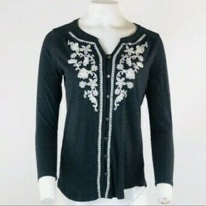 J Jill Embroidered Long Sleeve Top